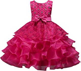 LvRao Girls Prom Gown Sequin Lace Tulle Dress Kids Wedding Princess Pageant Dresses