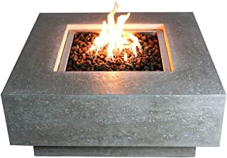 Elementi Manhattan Outdoor Fire Pit Table 36 Inches Square Firepit Concrete Patio Heater Electronic Ignition Backyard Fireplace Cover Lava Rock Included, Liquid Propane