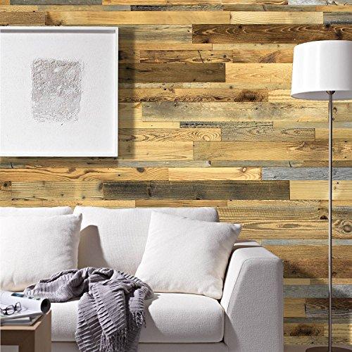 wodewa Wandverkleidung aus Holz Altholz sonnenverbrannt 1m² Echtholz Wandpaneele Holzwand - 4