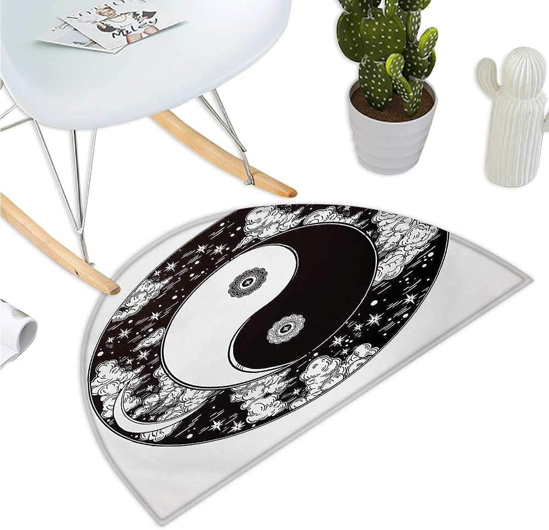 Ying Yang Semicircular Cushion Stars and Moon Asian Mystic Design Starry Night Sky Peace Magic Spirit Boho Bathroom Mat H 35.4  xD 53.1  Black and White