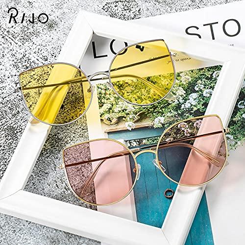 ShZyywrl Gafas De Sol Gafas De Sol De Metal Mujer, Montura Transparente De Ojo De Gato, Montura Grande, Gafas De Sol C