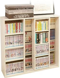 アイリスオーヤマ 本棚 コミック 大容量 スライド棚 ホワイト ダブル 幅約90×奥行約29.2×高さ約92.2cm CSD-9090