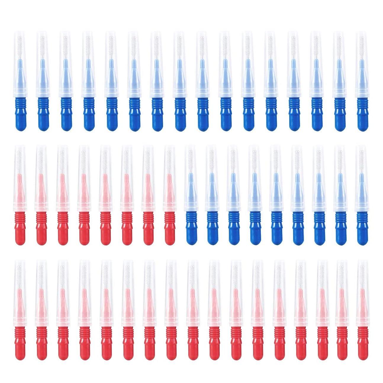 疫病湖個人SUPVOX 50本歯間スリムブラシつまようじクリーナーフロスヘッド歯科口腔衛生ブラシ(青と赤)