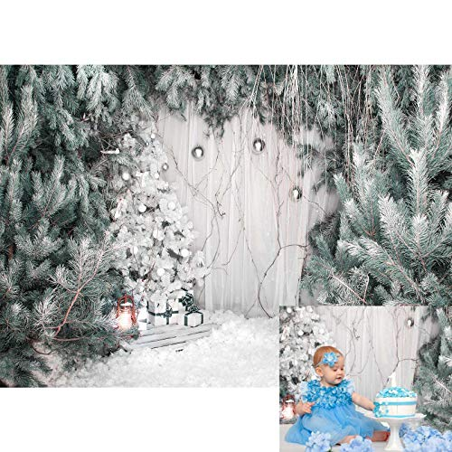 Allenjoy 7x5ft Winter Photography Backdrop Xmas Pine Trees Snow Floor Santa Gift Boxes Background for Kids Children Family Merry Christmas Happy New Year Party Decor Banner Portrait Photo Booth Props