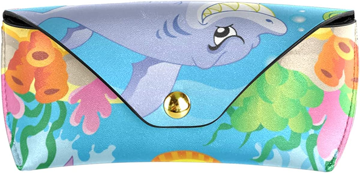 gift Goggles Bag Sunglasses Case Eyeglasses Pouch Portable Multiuse PU Leather Funny Cartoon Ocean World Fish Coral