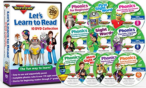 Let's Learn to Read 10 DVD Collection by Rock 'N Learn (170 sight words, covers all phonics rules, vowels, consonants, blends, digraphs, practice sections to build reading fluency, 80 downloadable worksheets and more.)