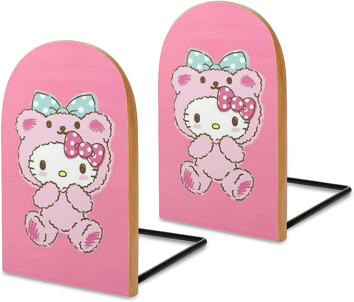 KRISMARIO Hello Kitty Pink Bow 2pcs Heavy Wood Logs Bookends Mod