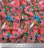 Soimoi Orange Samt Stoff Macawpapagei, Flamingo & Tukan