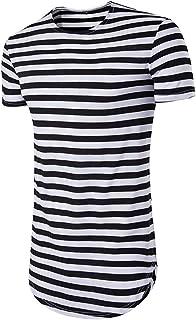 0064a9fcb6 Delisouls Hombre Camiseta de Verano, Cuello Redondo Manga Corta Entallado,  Informal Hip-Hop