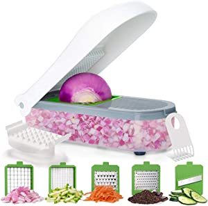 LISA ENJOYMENT Vegetable Chopper Onion Chopper with Container Vegetable Slicer Cutter Grater for Cheese, Chocolate and Ginger Pro Food Chopper with 5 Blades