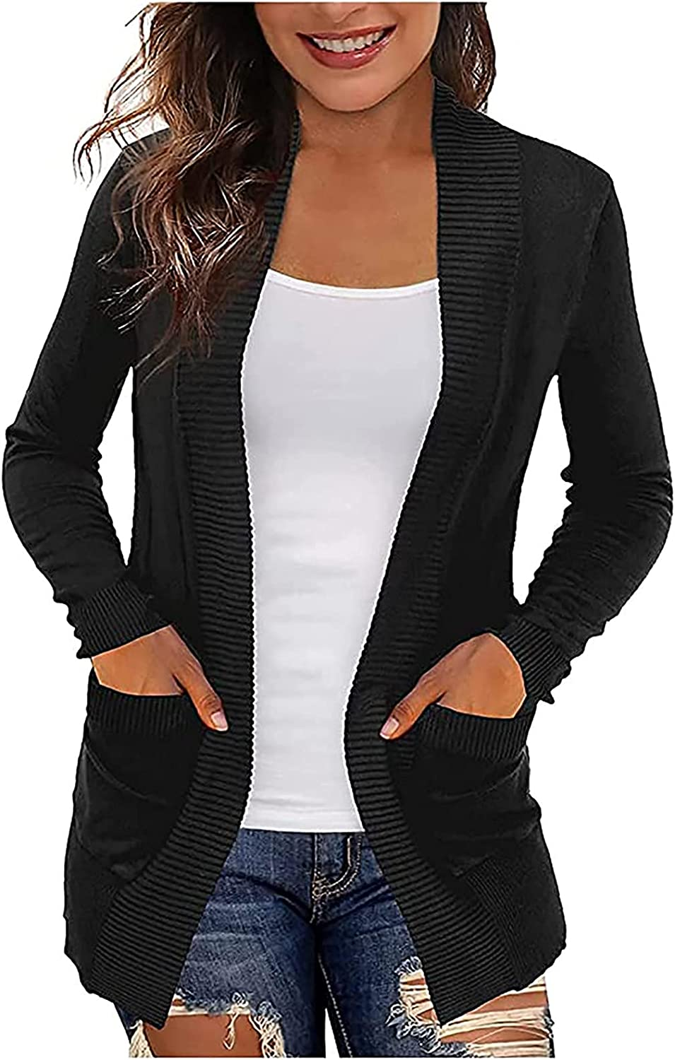 GOTD Women's Long Sleeve Hoodies Sweaters Open Front Cardigan Sweater with Pockets