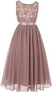 99597c4d2ff Cinderella Couture Big Girls Dusty Rose Satin Sash 3D Lace Chiffon Junior  Bridesmaid Dress 8-