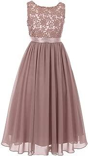 Big Girls Dusty Rose Satin Sash 3D Lace Chiffon Junior Bridesmaid Dress 8-16