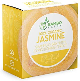 Solid Shampoo Bar And Conditioner Effect Hair Soap – 100% Organic Shampoo Bars For Hair With All Natural Plant Based Essential Oils And Zero Waste Biodegradable Packaging (Jasmine)