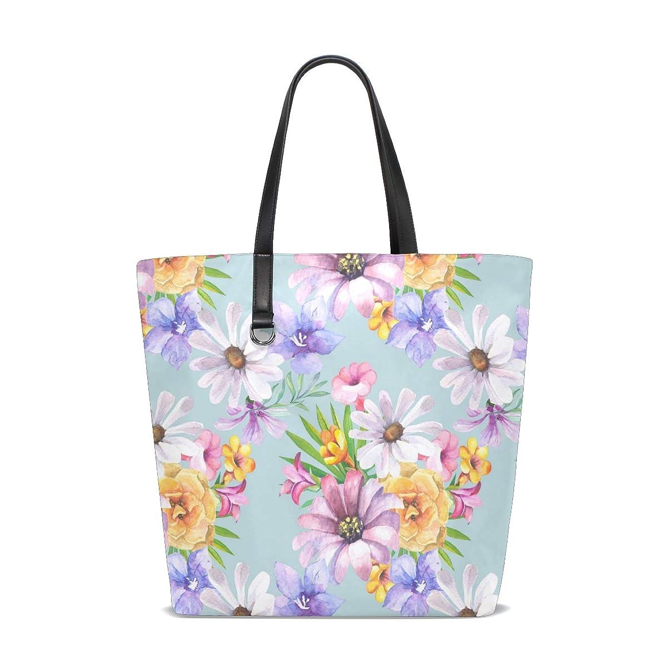 ハーフ市民中庭トートバッグ かばん ポリエステル+レザー 黄色 紫色花柄 水彩絵 両面使える 大容量 通勤通学 メンズ レディース