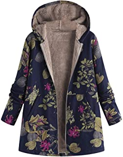 Womens Floral Coats Warm Faux Plush Vintage Jackets Hooded Outerwear