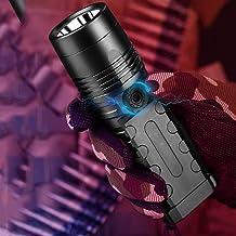 Portable Lightweight 4600 Lumen Glare LED Flashlight, Rechargeable Super Bright Long-Range Outdoor Waterproof Tactics Conc...