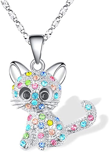 Cheerslife Kitty Cat Pendentif Collier Bijoux pour Femmes Filles Enfants, Cadeaux Amoureux de Chat Fille Loved Collie...