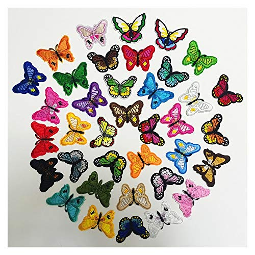 Tongjun Stickerei-Tuch-Aufkleber Computer-Stickerei-Etikett 12 Farben-Schmetterlings-Anzug-Flecken-Aufkleber Kleidung Ornamente (Size : 37pcs)