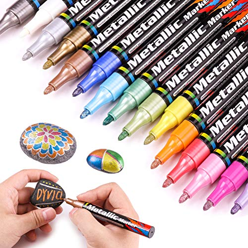 Dyvicl Metallic Markers Paint Markers, Medium Point Metallic Paint Pens for Rocks, Halloween Pumpkin, Wood, Fabric, Glass, Ceramics, Metal, Plastic, Black Paper, Christmas Art Crafts, Set of 15