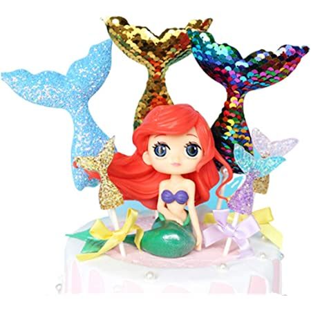 GKJ Mermaid Doll Cake Topper Figura Lentejuelas Mermaid Tail Cupcake Topper para Bodas Niños Cumpleaños Baby Shower Mermaid Theme Party Decoration Pack de 7