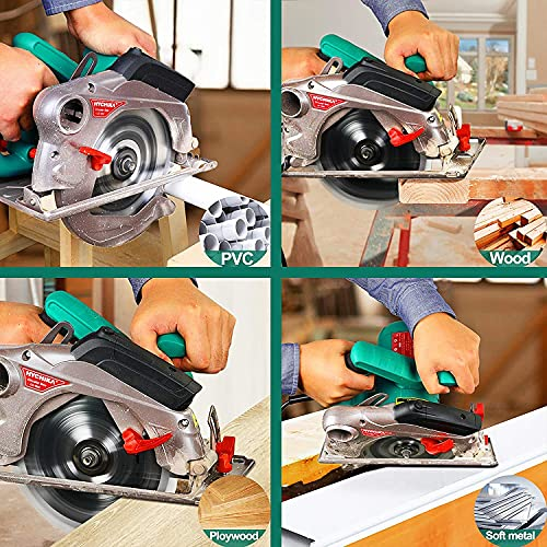 """Circular Saw,HYCHIKA 1500W/12.5A Corded Electric Saw with 4700RPM, 2Pcs Blades(24T+ 40T) plus 1 Allen Wrench,Max Cutting Depth 2-1/2""""(90°), 1-4/5""""(45°)"""