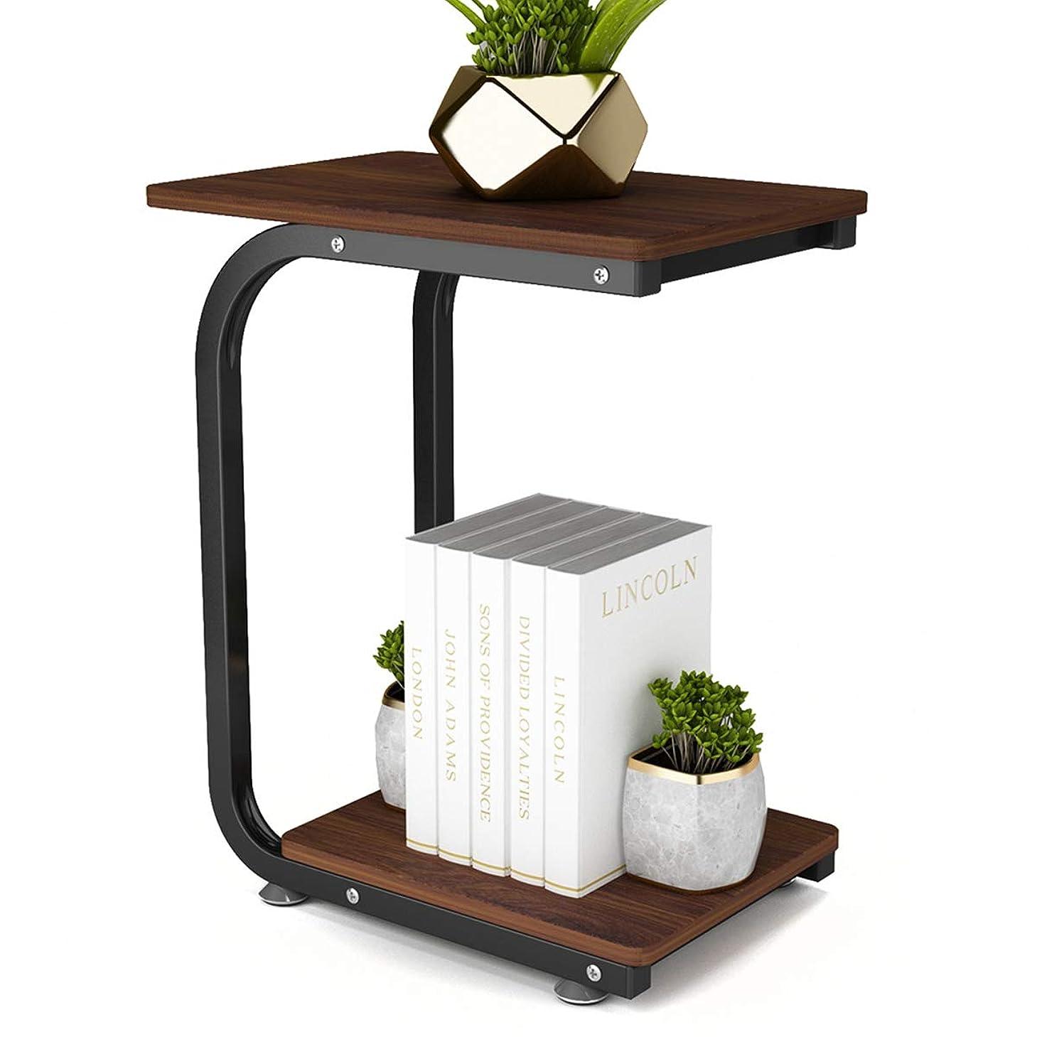 堂々たるはがき夢DEWEL サイドテーブル ソファーサイドテーブル コ字型 ベッドサイドテーブル テーブル ナイトテーブル キャスター&アジャスター付き シンプル 幅45×奥行30×高さ55cm