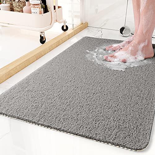 Non-Slip Bathtub Mat, 17x 30 Inch, Shower Mats for Bath Tub, PVC Loofah Bathroom Mats for Wet Areas, Quick Drying