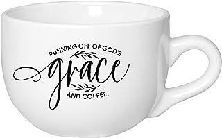 Coffee Tea Soup Ceramic Mug | Running off of God's grace and coffee. | 20 ounce Designer Jumbo Mug with Inspiring Sentimen...