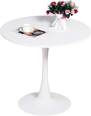 "Dining Table 32"" Mid-Century Modern Round Dining Table Coffee Table with Round Top and Pedestal Base in White"
