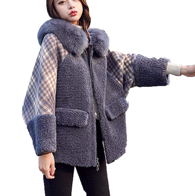 [美しいです]ラムファーコート女性、厚い毛皮の襟小さなルーズなチェック柄のショートコート