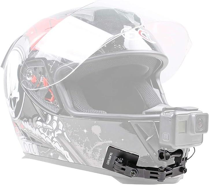 SUREWO - Soporte de Aluminio para Casco de Motocicleta Compatible con GoPro Hero 7/2018/6/5 Negro 5/4 Session dji OSMO Action y más Casco Frontal y Lateral Giratorio y Almohadillas Adhesivas