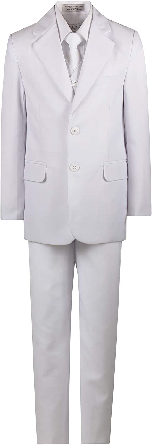 BJK Collection Boys Slim Fitting Suit 5-Piece with Vest and Necktie