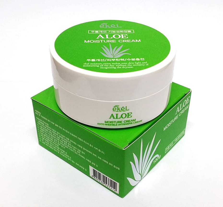 移行するもディスコ[Ekel] アロエモイスチャークリーム100g / Aloe Moisture cream 100g / しわ、アロエベラオイルフリー / wrinkles, Aloe Vera Oil-Free / 韓国化粧品 / Korean Cosmetics [並行輸入品]
