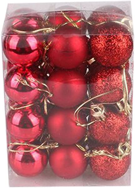 FunDiscount Shop 24ct Christmas Ball Ornaments For Xmas Tree Pack Of 24 Pcs 1 18 30mm Shatterproof Christmas Tree Ball Bauble Decorations Hanging Ball For Holiday Wedding Party Decoration