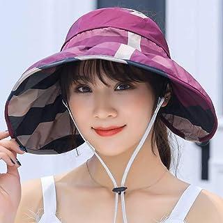 MEETGG Sombrero para el Sol De Las Mujeres UPF 50+ Enrollar Plegable Visera ala Ancha Playa Sombrero de Viaje Cola de Caballo Enrollable Y Ajustable