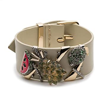 Alexis Bittar Women's Leather Buckle Cuff Bracelet with Lucite and Enamel Fruit Accent