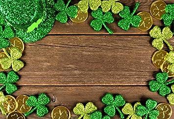 Patricks Day Good Luck Backdrop Photography Background Leprechaun Lucky Irish Shamrock Green Four-Leaf Clover Pot of Gold Backdrop Festival Celebration Party Portraits 7x7ft Happy St
