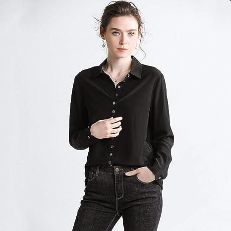 XCXDX Elegante Camisa De Seda Negra, Monos Básicos, Top De ...