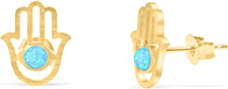 14k Gold Plated Round Lab Synthetic Simulated Created Opal Bead Bridal Ears Studs Post Earrings For Women Teen Girls Children Jewelry