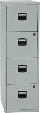 Bisley Home Classeur pour dossiers suspendus PFA, 4 tiroirs, argent - Armoire de bureau Armoires de bureau Classeur pour doss