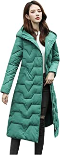 Doric Womens Hooded Down Jacket Casual Solid Quilted Long Sleeve Overcoat Long Slime Parka Jackets Coat