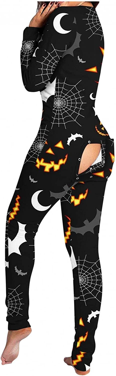 Gibobby Jumpsuit for Women Halloween Sleepwear Button Down Long Sleeve Functional Buttoned Flap Jumpsuit V Neck Pajamas