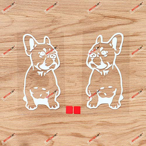 French Bulldog Dog Frenchie Puppy Decal Sticker Vinyl - Pair White, 4 Inches - Mirror Image Reversd for Car Boat Laptop Die-Cut No Background 01291