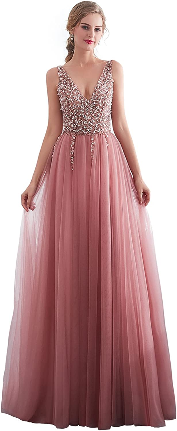 Epinkbridal Sexy V Neck Long Formal Evening Dresses with Jewel Beaded High Split Homecoming Prom Gowns