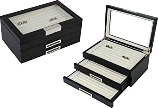 Cuff-Daddy Mens Matte Black Wood Cufflinks Rings Triple Layer Storage Box Case with Glass Window
