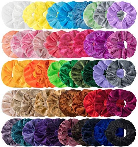 HBselect 50Pcs Chouchous Set Multicolore Élastiques Bandeaux