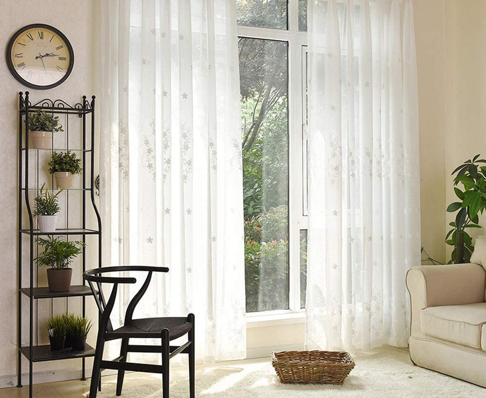Modern Sheer Window Curtains San Jose Mall Panels Rod Embroidered Excellence Pocket Flowe