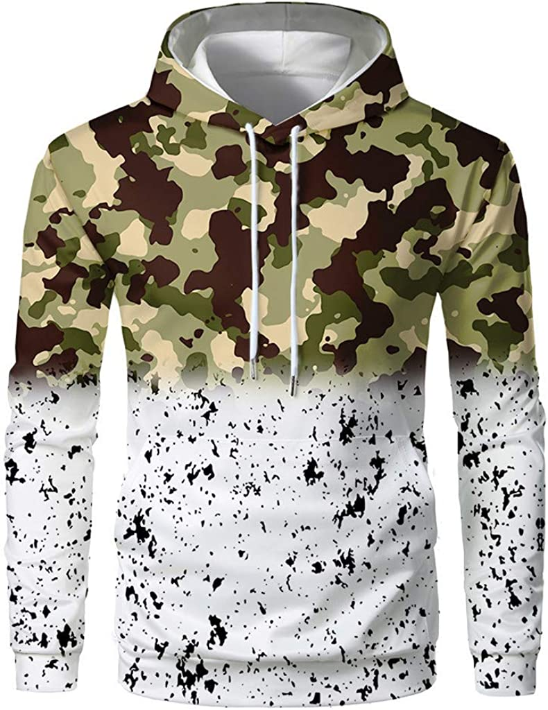 Fastbot Men's Hoodie Hooded Sweatshirt Tie Dye Christmas Pullover Shirt Gradient Fading Soft Stretch Sports Tops