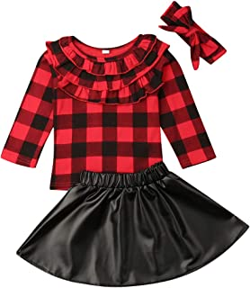 Toddler Girls Christmas Skirt Clothes Red Plaid Tops T Shirt+Mini Skirt Dress Outfits Costume